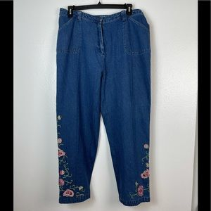 Roaman's Wide Leg Floral Embroidered Jeans